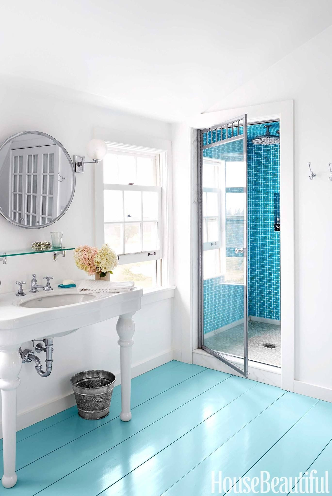 flooring ideas for small bathrooms%0A    of the most stunning painted floor ideas  You can paint your floors and  stairs with block colors  geometric patterns  stencils  murals and more