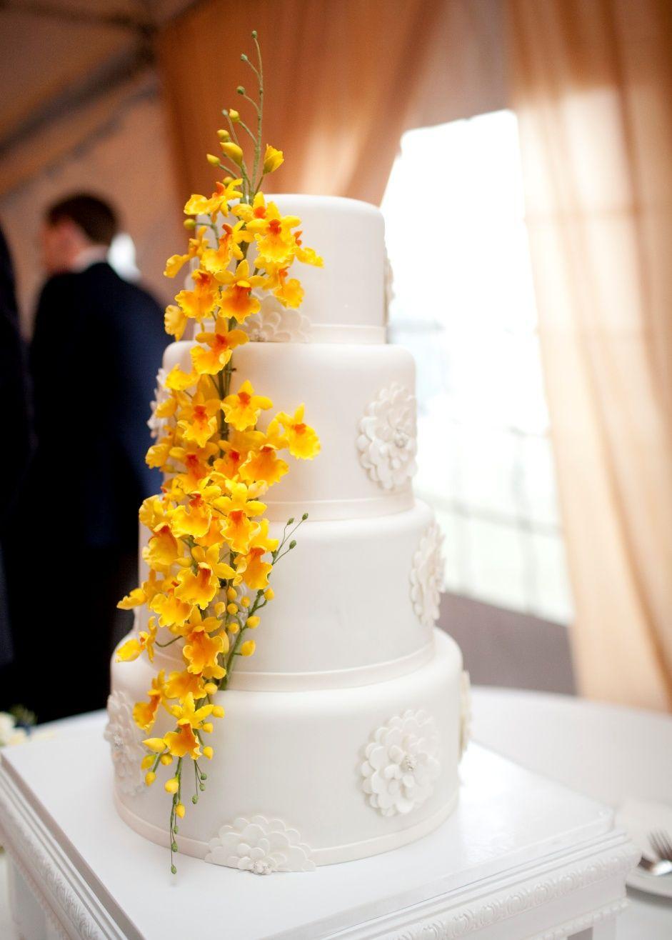 Sugar yellow oncidiums on a clean modern cake wedding cakes by