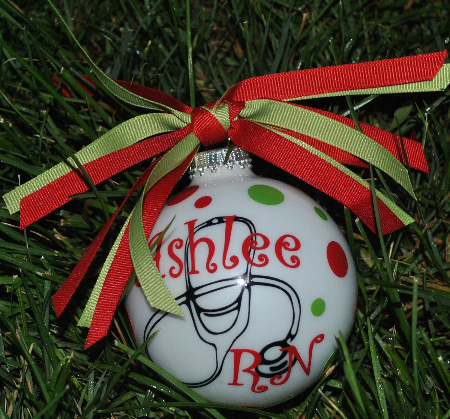 Personalized Monogrammed Christmas Ornament Nurse by