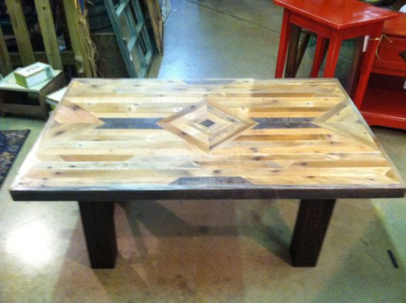 chevron table top made out of many pieces of reclaimed wood in its rh pinterest com