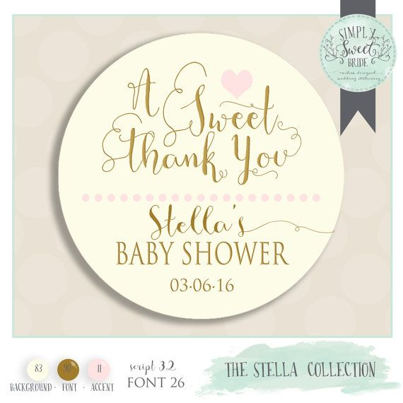 Personalised Baby Shower Favors Party bag Thank You Round Stickers 24 S3