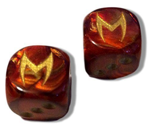 Custom & Unique {Standard Medium Size} 2 Ct Pack Set of 6 Sided [D6] Square Cube Shape Playing & Game Dice w/ Rounded Corner Edges w/ Pearlescent Fire Design Scarlet Witch Logo [Red, Yellow & Orange]