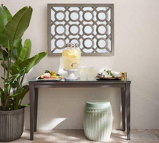 Gray Wash Lattice Mirror Mirror Decor