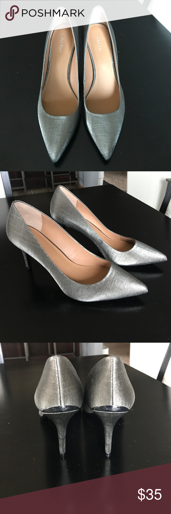 390051717004 Calvin Klein Gayle metallic pump Metallic silver pump. Like new condition!  Just over 3