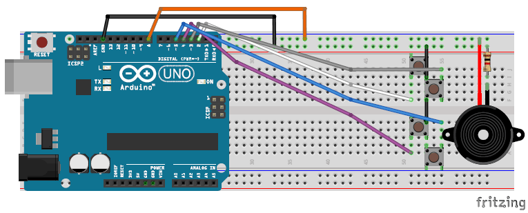 fritzing circuit for arduino melody playing arduino projects rh pinterest com
