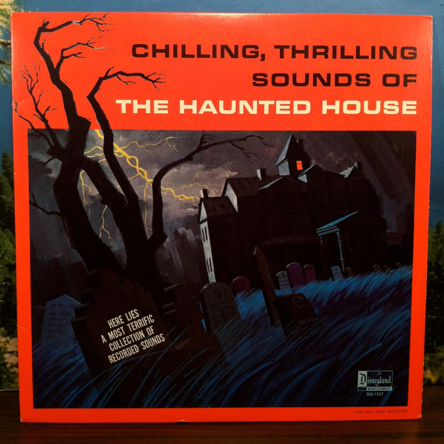 chilling thrilling sounds of the haunted house vinyl record lp disneyland scary halloween sound effects by vintagebaronrecords on etsy