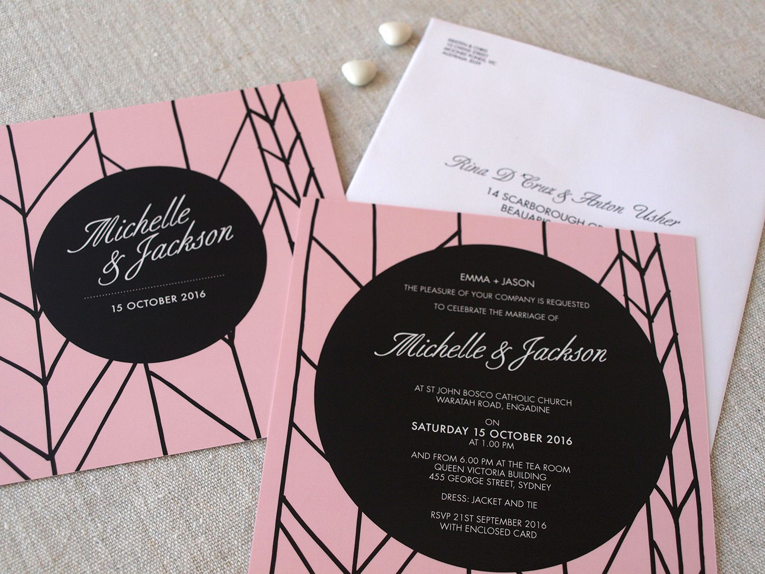 contemporary wedding invitation cards%0A Pink and Black Modern Whimsy Invitations by Alannah Rose  wedding   invitations  invites