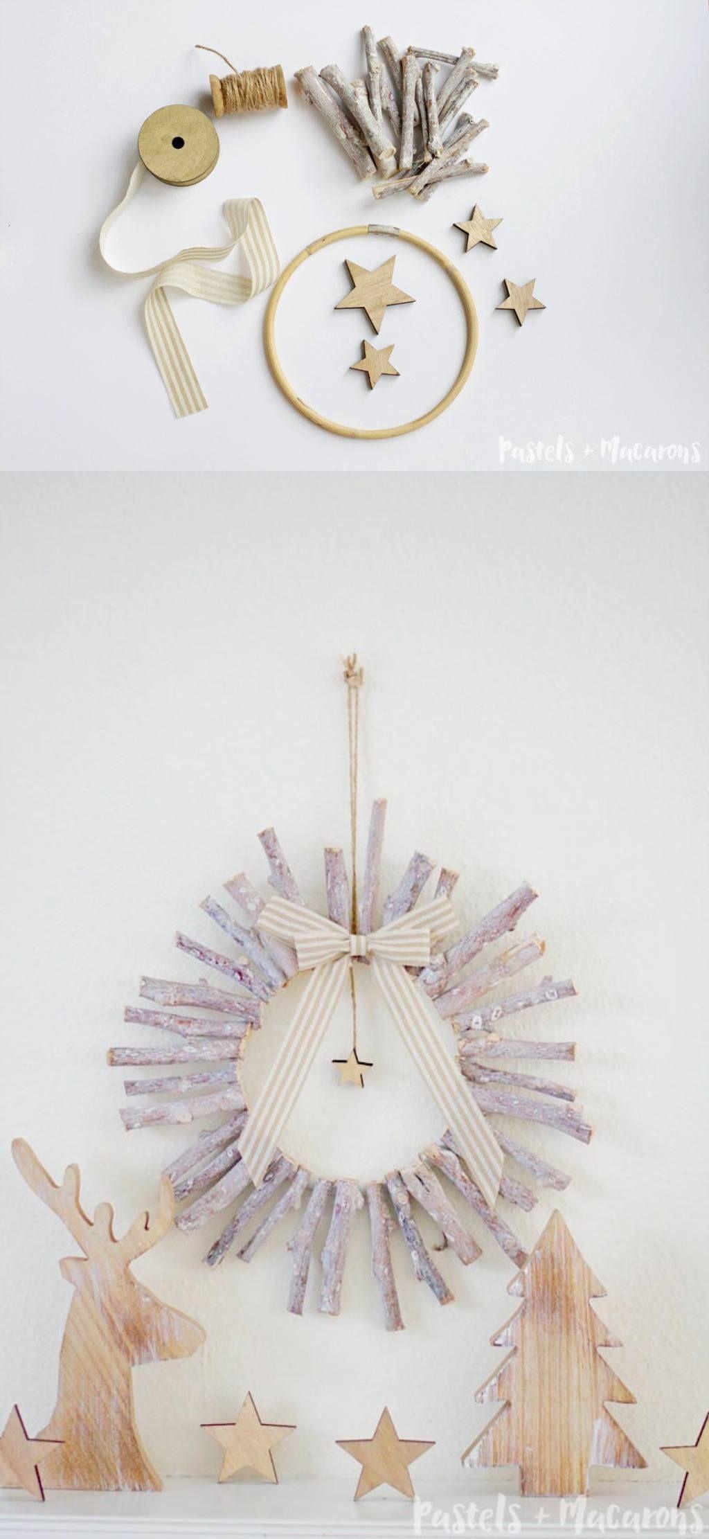 Moderna corona de madera navidad corona de madera - Decoracion navidad moderna ...