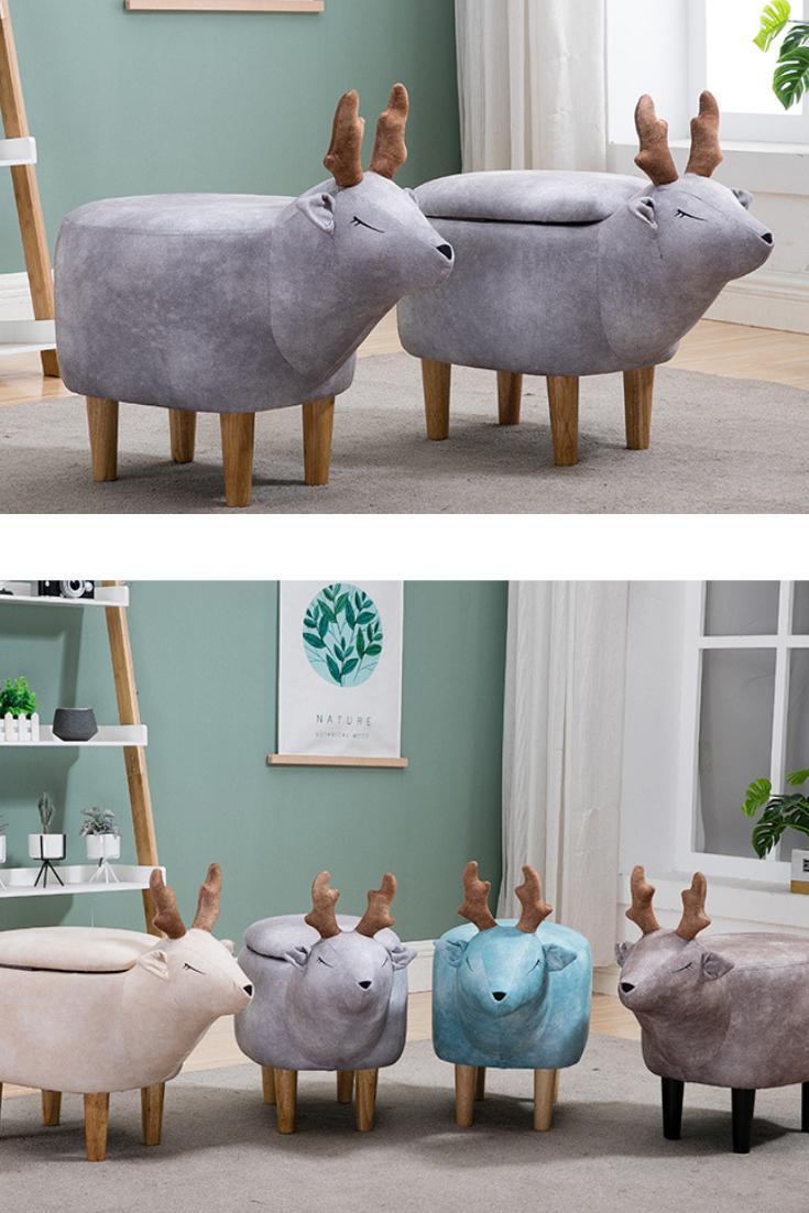 Swell Blue Deer Cartoon Small Storage Footstool Sitting Stool In Short Links Chair Design For Home Short Linksinfo