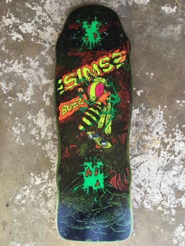 VINTAGE 80s SIMS SLIGHT BUZZ SKATEBOARD DECK H Street DOGTOWN Santa Cruz NHS
