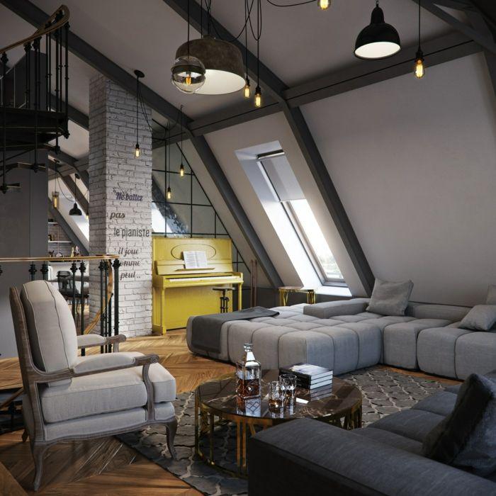 einrichtungsbeispiele raumgestaltung inneneinrichtung ideen inneneinrichter wohnideen loft stil backstein fachwerk schraegen
