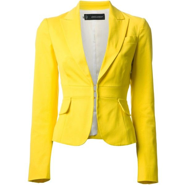 DSQUARED2 cropped blazer (5.615 HRK) found on Polyvore featuring outerwear, jackets, blazers, coats & jackets, tops, dsquared2 jacket, long sleeve blazer, yellow jacket, yellow blazer and cropped jacket