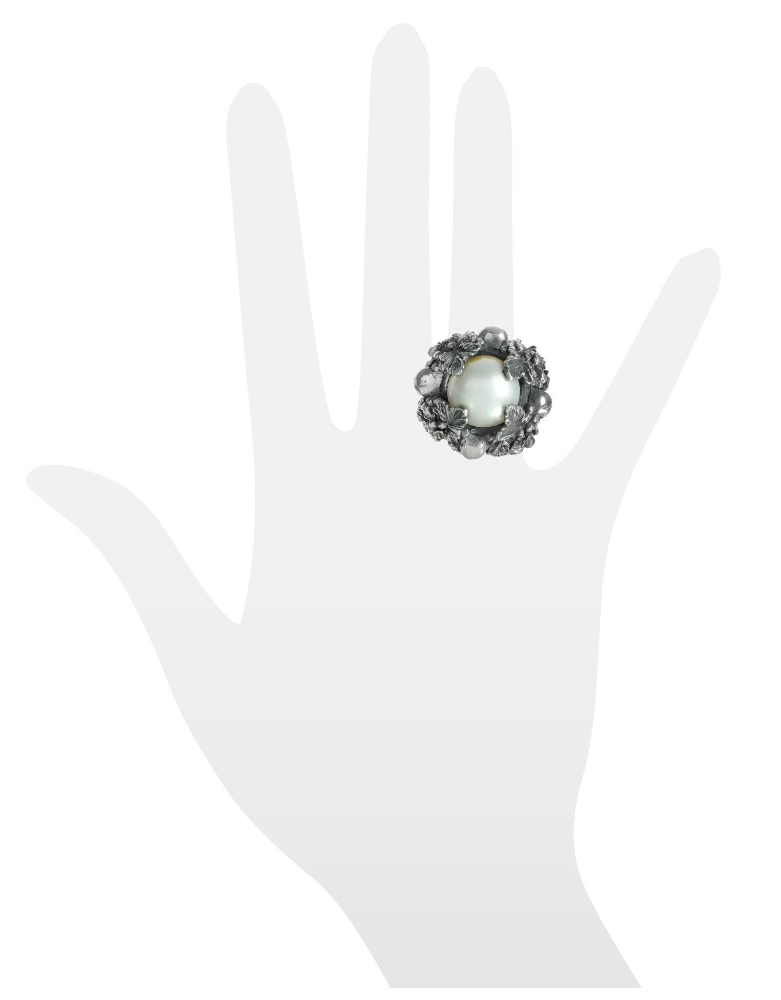 Ugo Cacciatori Sterling Silver and Light Pearl Foliage and Skulls Ring XS (USA 6.5   UK M) at FORZIERI