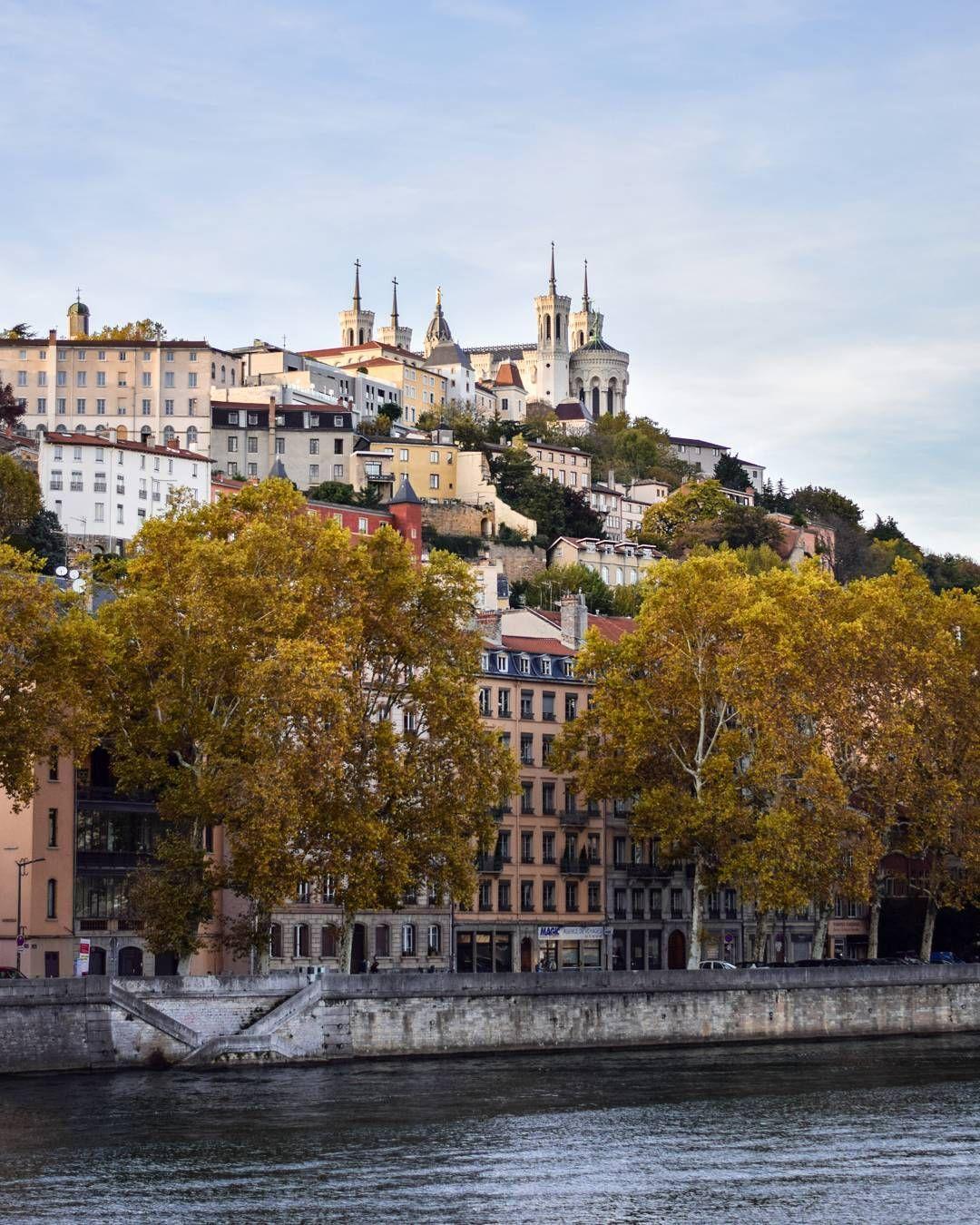 Vue Sur Fourviere Des Quais De Saone Lyon Lyon France Lyon City Lyon