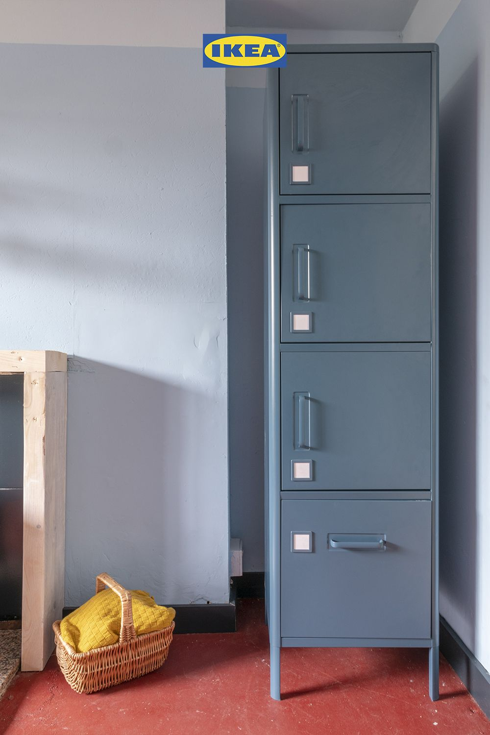 Idasen High Cabinet With Drawer And Doors Blue 45x172 Cm Ikea