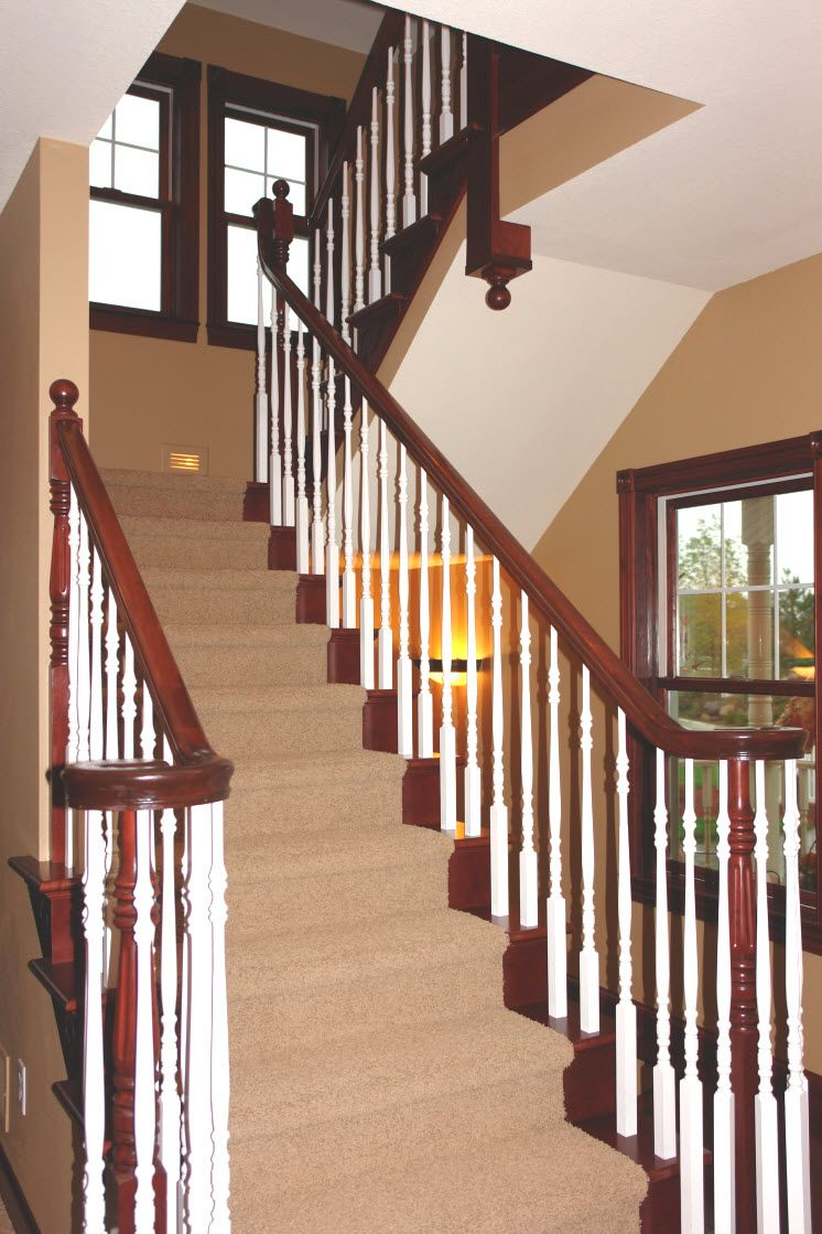 Best Stair Systems Cherry Wood Staircase With Primed White 400 x 300