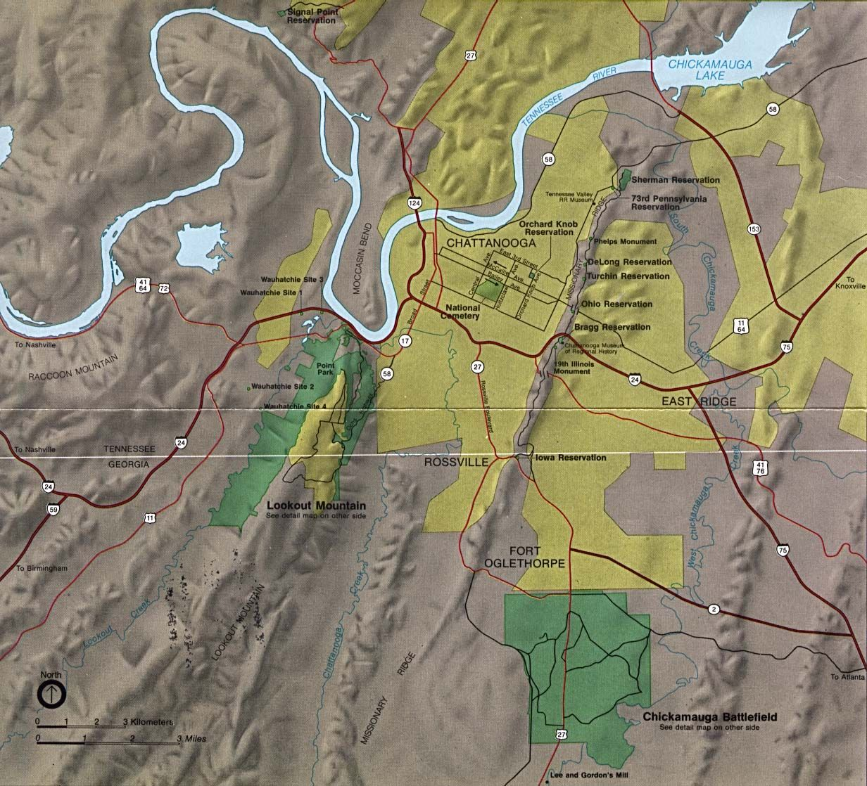 Maps of Area Map of Chickamauga and
