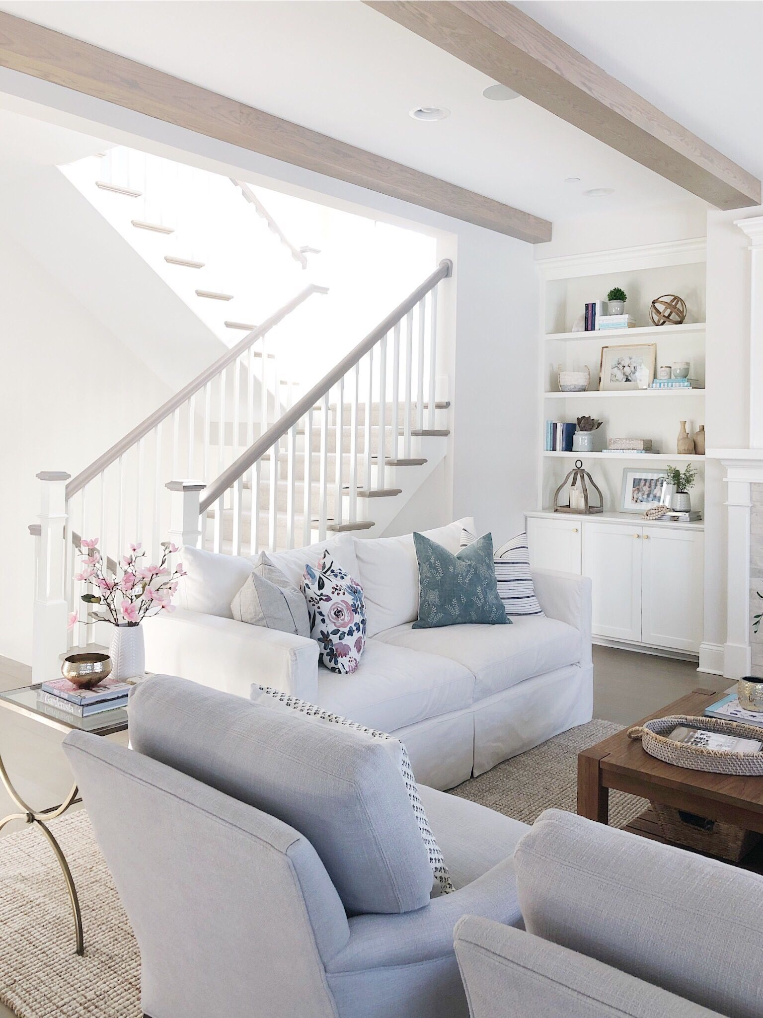 Spring Living Room Living Room White Living Room Grey Living Room Inspiration #open #staircase #in #living #room