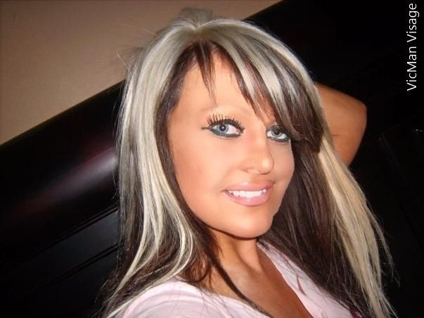 Platinum Blonde On Top , Dark Brown On The Bottom .