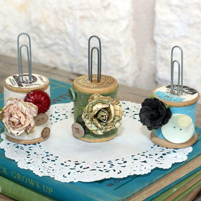 Make a Thread Spool Photo Holder with Buttons! | Thread spools ...
