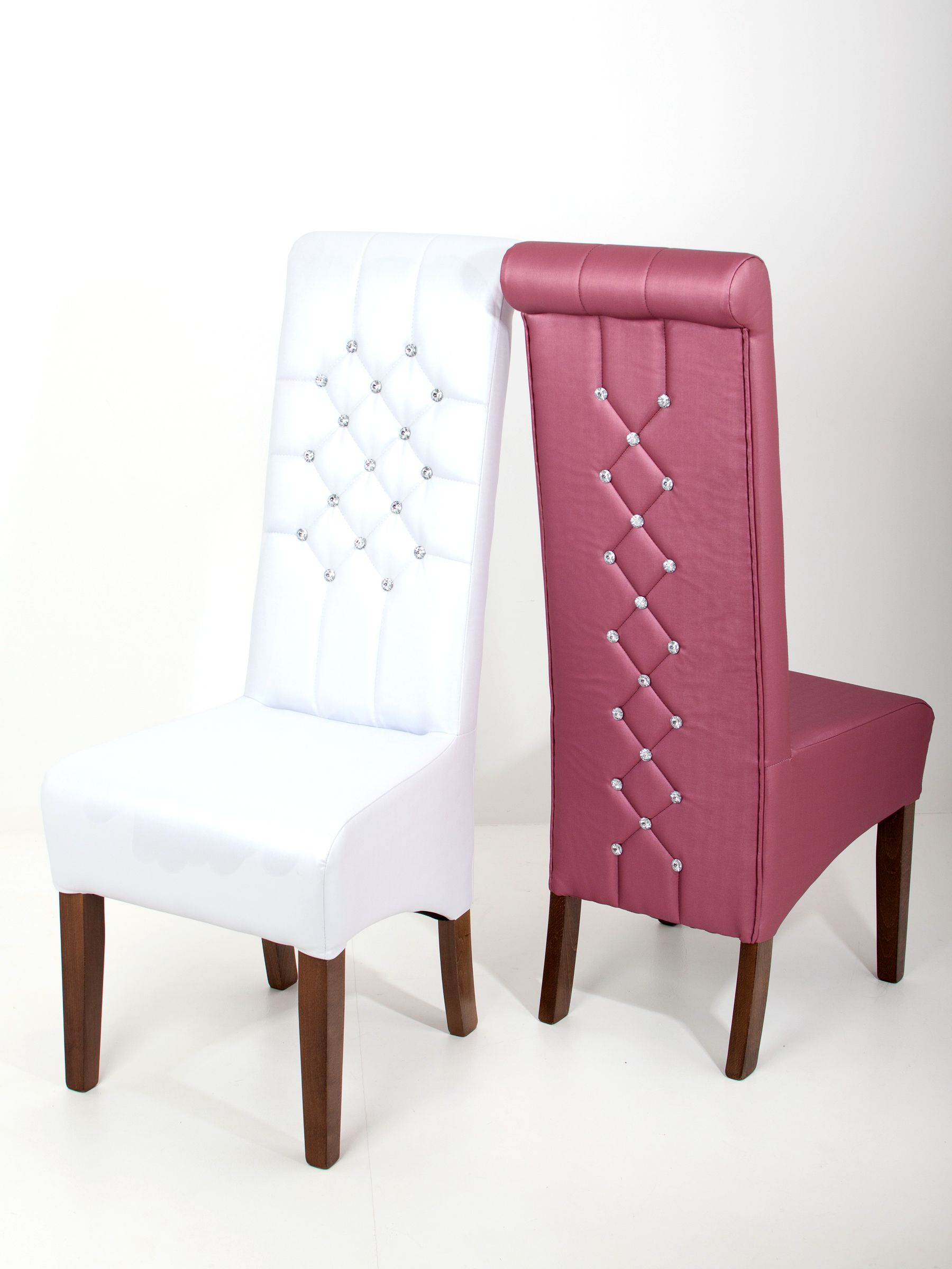 Pink & white leather, high backed chair featuring corset