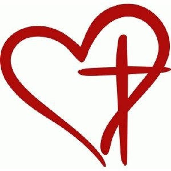 Heart with Cross Decal, Cross Decal, Heart Decal, Decal ...