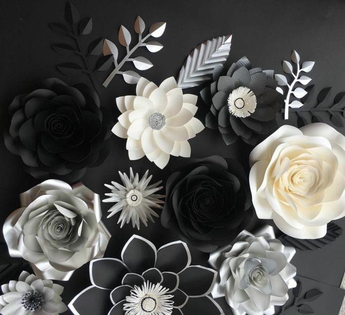 Tischdeko 50 Geburtstag, Elegante Deko In Schwarz Weiß Und Grau, Kpnstliche  Blumen Aus Papier