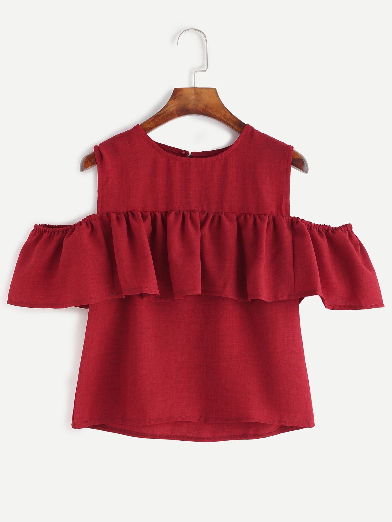 d26eb0c4573be5 Shop Burgundy Open Shoulder Ruffle Top online. SheIn offers Burgundy Open  Shoulder Ruffle Top   more to fit your fashionable needs.