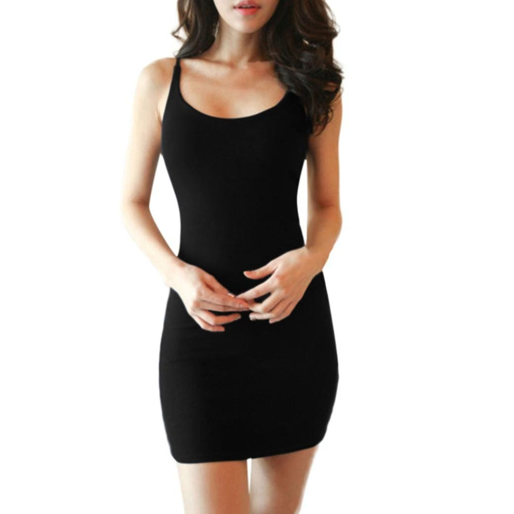 768374f6ff Womens Sexy Backless Basic Casual Summer Sleeveless Strap Slim Bodycon  Tanks Dress in 2018