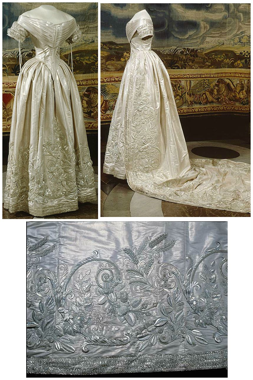 Wedding dress of Queen Lovisa of Sweden and Norway (née Princess Louise of the Netherlands) who married King Karl XV on June 19, 1850, in Stockholm Cathedral. Collection of the Royal Armory, Stockholm.