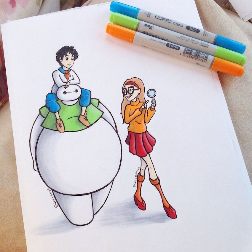 Baymax And Gang Scooby Doo Edition By DeeeSkyedeviantartcom On - Baymax imagined famous disney characters