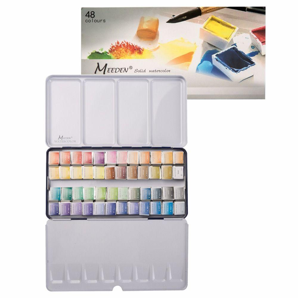 Meeden Art Watercolor Tin Palette Paint Set With 48 Colors Half