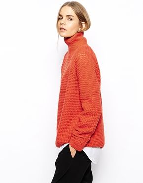 Chunky orange turtle neck sweater | Fab Fashions | Pinterest ...