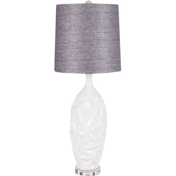 Surya Vogue White Table Lamp ($296) ❤ liked on Polyvore featuring home, lighting, table lamps, white light, white shades, white lights, surya and modern white lamp