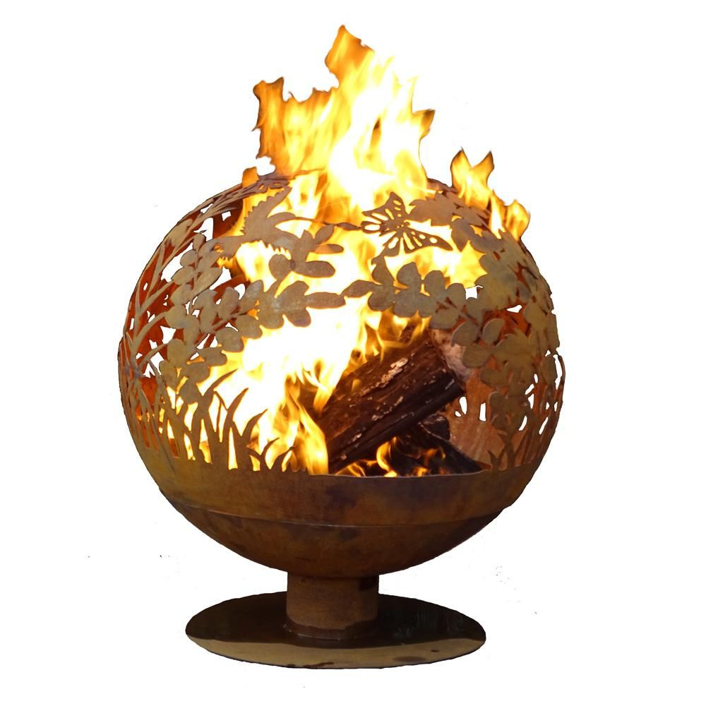 Esschert Design Garden 24 In X 28 In Round Steel Wood Burning Fire Pit In Rust Red Wood Burning Fires Wood Burning Fire Pit Fire Pit Wayfair