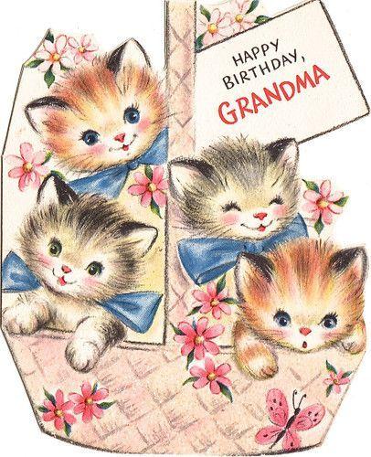 Cute vintage Happy Birthday, Grandma card. #vintage #cats