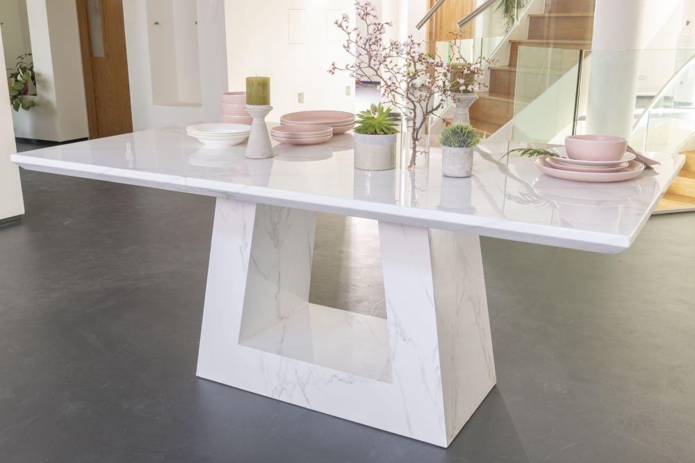 Milan White Marble Dining Table Rectangular 200cm Urban Deco Dining Table Marble Marble Dining Dining Table