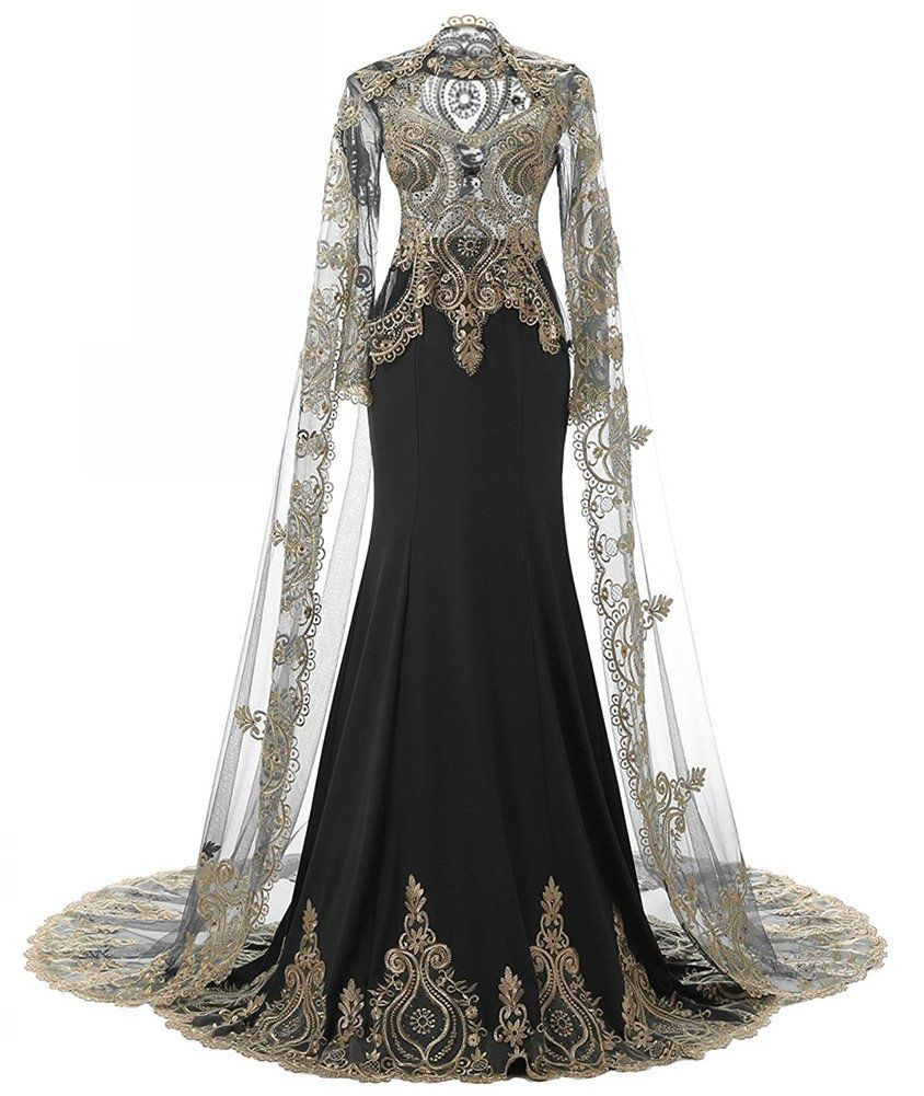 Honeydress Womens Gorgeous Beaded Lace Mermaid Train Evening Dress With  Cape    Learn more by visiting the image link-affiliate link.  WomenDresses ae90d4707e27