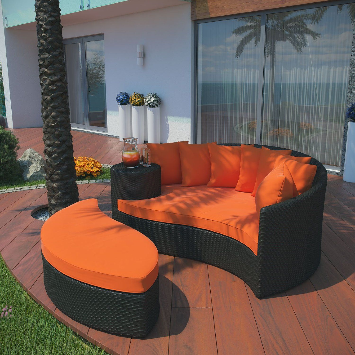 Amazon Com Lexmod Taiji Outdoor Wicker Patio Daybed With Ottoman Various Colors A Patio Furnishings Discount Outdoor Furniture Wicker Outdoor Furniture Set