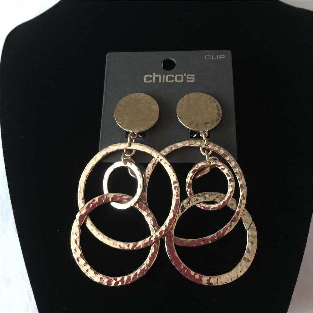 Chico/'s jewelry two tone gold silver tone circle round earrings hoop drop dangle