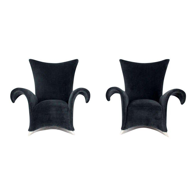 Pair Of Mid Century Modern High Back Oversize Wingback Chairs For