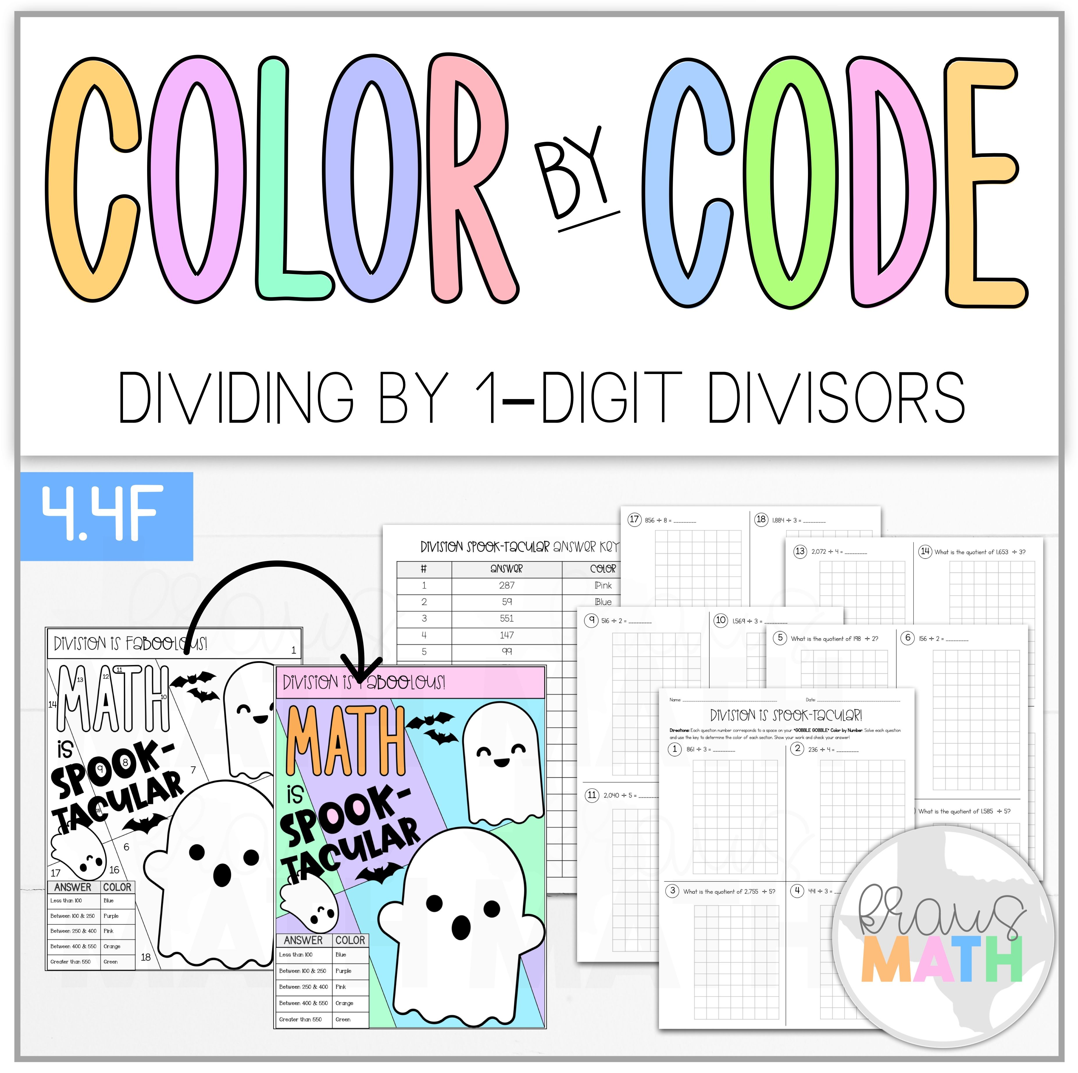 Color By Number Halloween Math Is Spooktacular Teks 4 4f Kraus Math Halloween Math Math 4th Grade Math Games [ 3692 x 3708 Pixel ]