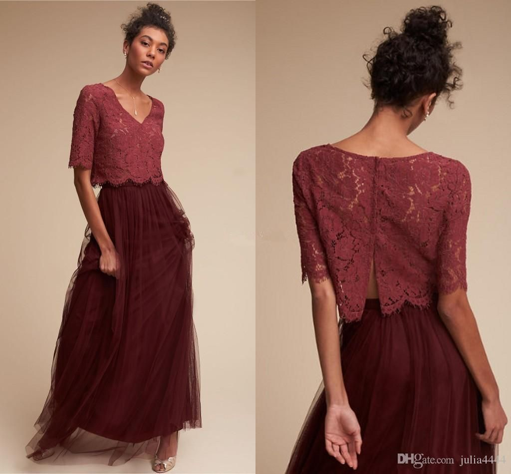 Two pieces vintage country bohemian burgundy bridesmaid dresses