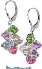 Multicolor Cluster Swarovski Crystal Genuine Sparkling .925 Sterling Silver Leverback Dangle Earrings