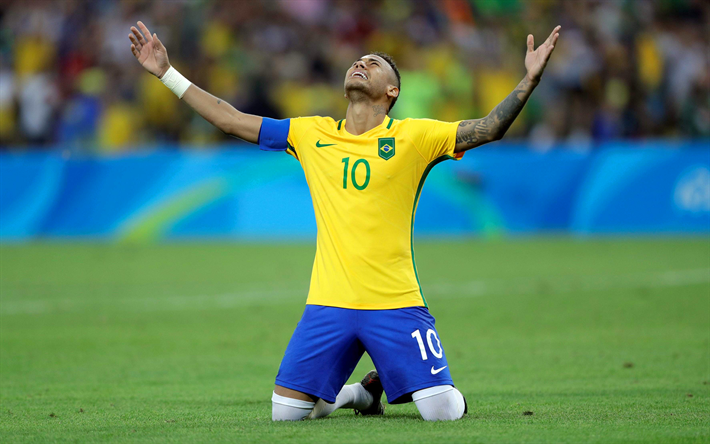 Download wallpapers Neymar, 4k, Brazilian National Team