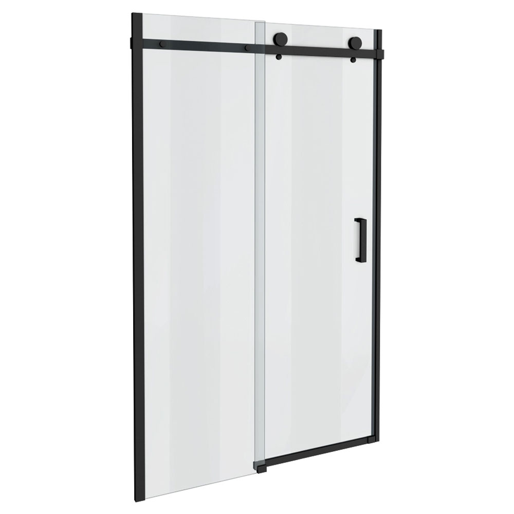 Arezzo Matt Black 1400mm Frameless Sliding Shower Door Victorian Plumbing Uk Flat Shopping List In 2019 Frameless Sliding Shower Doors Shower Doors Loft Bathroom