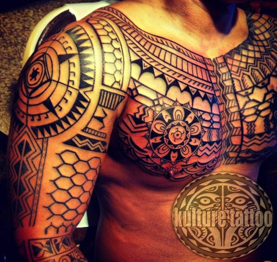 maori tattoo on chest and arm tattoos pinterest. Black Bedroom Furniture Sets. Home Design Ideas
