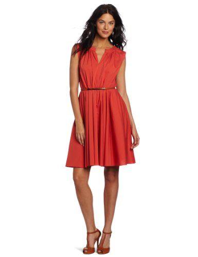 Amazon.com: Suzi Chin Women's A Line Belted Dress: Clothing