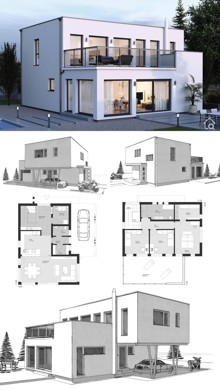 Modernes Haus Design Mit Flachdach Integriertem Carport Bauen Einfamilienhaus Grundriss Modern In 2020 Bauhausstil Haus Haus Design Haus
