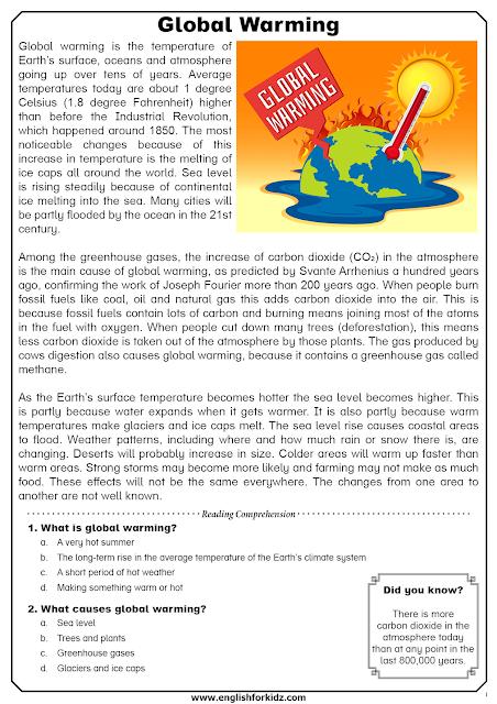 Global Warming Reading Comprehension Fact Project I Climate Change Man Made Argumentative Essay